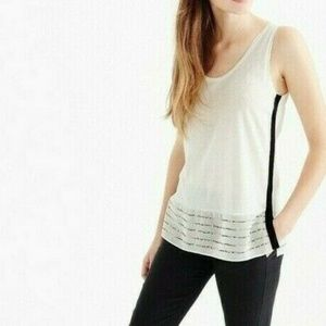 J Crew Embellished Silk Hem Tank Top